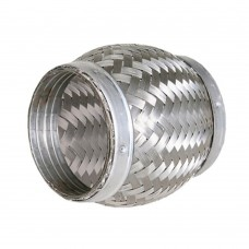"Flexibel exhaust part, braided, welding part, 3"" diameter, 100mm long"